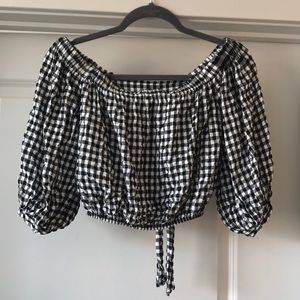 EUC Gingham Off Shoulder Tie Top Black and White